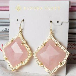 """Kendra Scott """"Kristen"""" Gold Rose Quartz Earrings"""